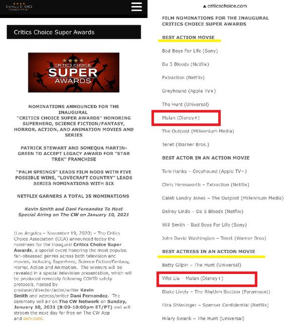 Mulan và Lưu Diệc Phi lại được đề cử giải danh giá ở Hollywood, cơ may ăn đậm Oscar đang rất cao? - Ảnh 1.