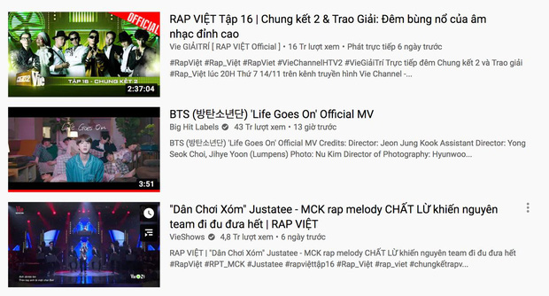 Lập loạt thành tích khủng, đáp thẳng top 2 trending nhưng BTS cũng không thể cản được thời tới của Rap Việt - Ảnh 4.