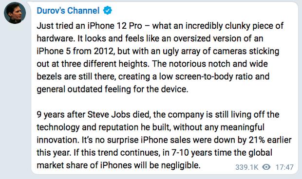 CEO Telegram chê iPhone 12 Pro lỗi thời, chẳng khác gì iPhone 5 thêm cụm camera xấu xí - Ảnh 2.