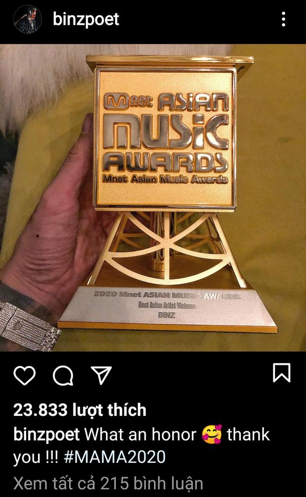 Binz bất ngờ khoe cúp đạt giải Best Asian Artist Vietnam tại MAMA 2020 nhưng lập tức phải xoá vội vì ăn mừng hơi sớm? - Ảnh 5.