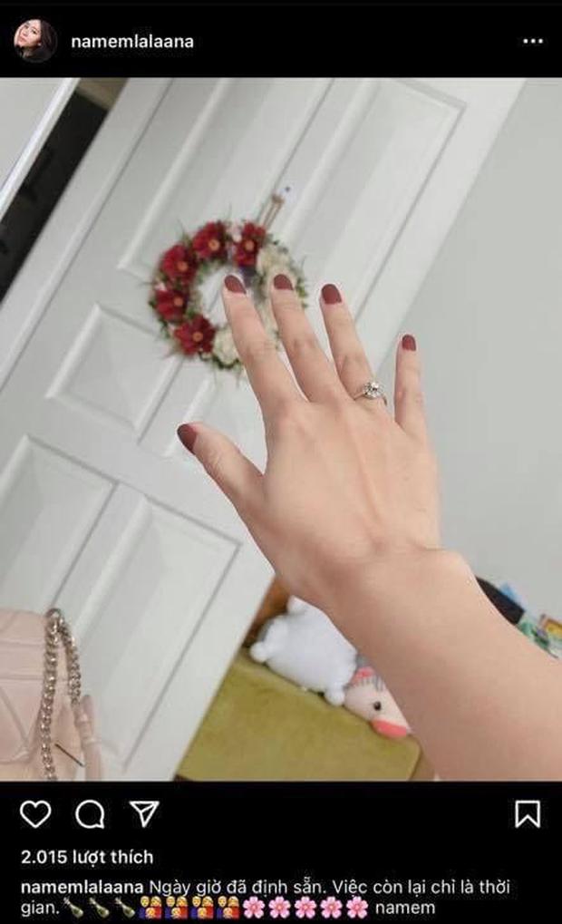 Nam Em khoe ảnh đeo nhẫn, mặc váy cưới, netizen lập tức gọi tên chú rể Lãnh Thanh - Ảnh 2.