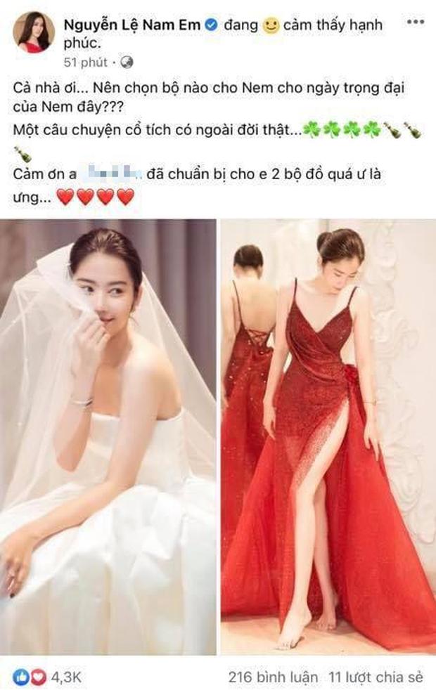 Nam Em khoe ảnh đeo nhẫn, mặc váy cưới, netizen lập tức gọi tên chú rể Lãnh Thanh - Ảnh 3.