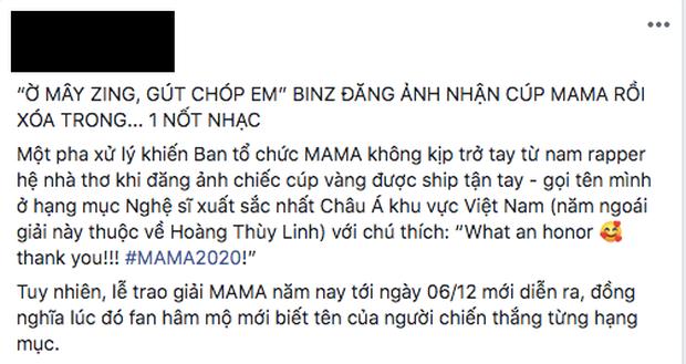 Binz gây tranh cãi khi lỡ tay khoe cúp MAMA quá sớm: Người khen dễ thương, kẻ chỉ trích thiếu chuyên nghiệp - Ảnh 4.