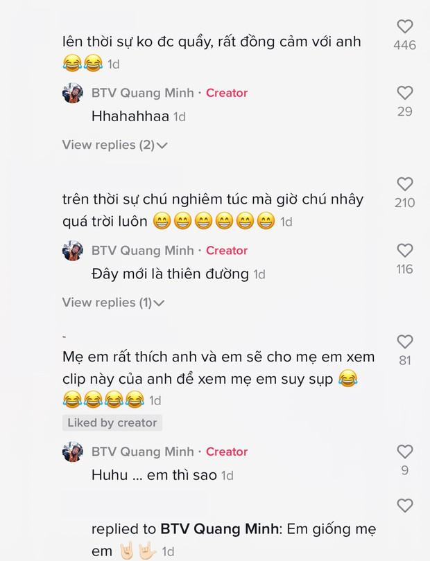BTV Quang Minh khiến các cháu xỉu ngang vì chơi TikTok quá dữ, đối lập chan chát với lúc lên sóng VTV - Ảnh 7.