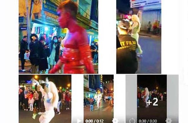 Người mặc phản cảm, làm trò lố trên phố Đà Lạt bị phạt 7,5 triệu đồng - Ảnh 3.