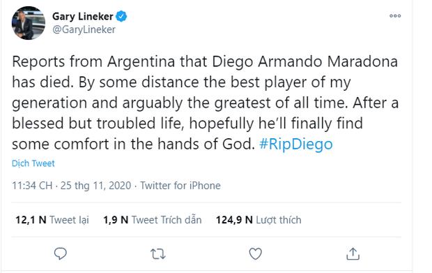 Mạng xã hội tràn ngập hashtag thương tiếc danh thủ người Argentina - Diego Maradona - Ảnh 3.