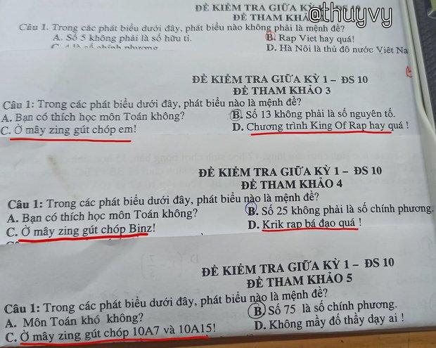 Đề thi Toán chất phát ngất với những mệnh đề lấy từ Rap Việt - Ảnh 1.
