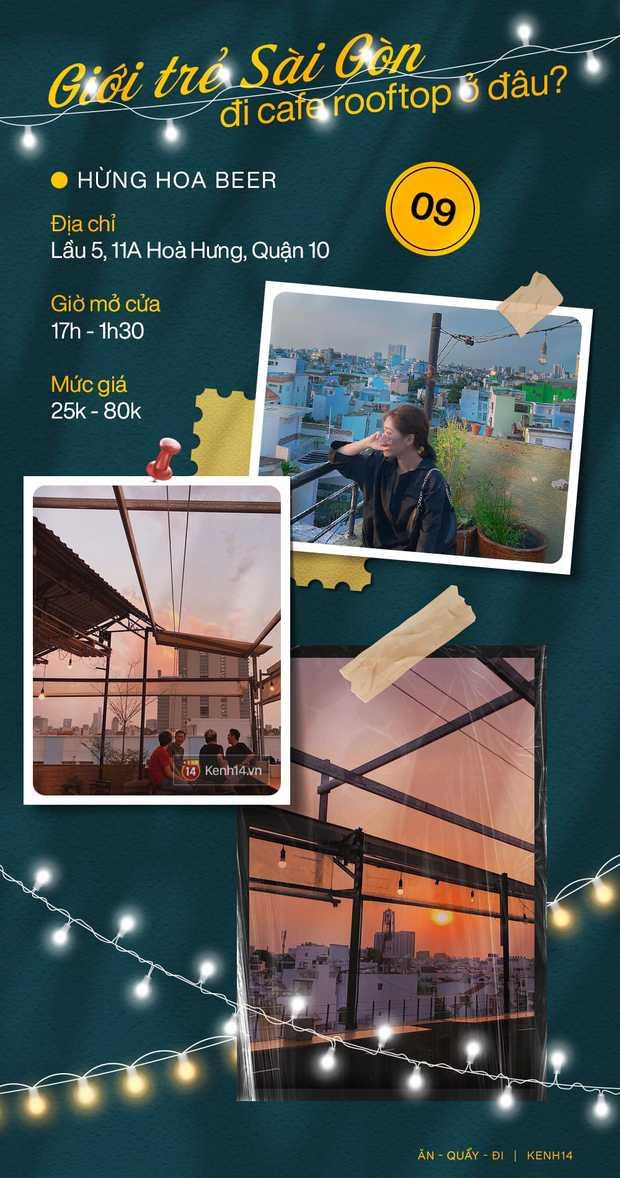 """Đã tìm ra 10 quán cà phê rooftop rẻ và đẹp nhất Sài Gòn: Buồn vui gì cũng lên ngồi """"chill"""" được, cứ chiều tối là giới trẻ check-in đông nghẹt - Ảnh 9."""