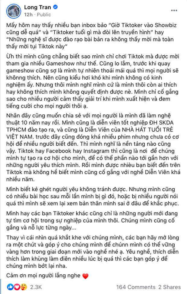 Long Chun bất ngờ lên tiếng về tranh cãi hot TikToker tham gia nhiều gameshow - Ảnh 1.