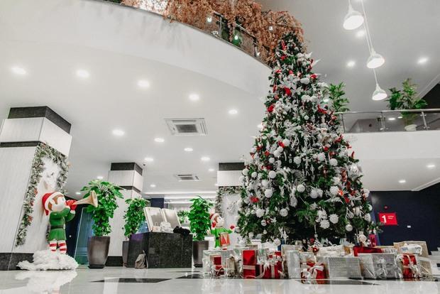Trường con nhà giàu ĐH Thăng Long lại trang trí Giáng sinh đẹp mê hồn, đố trường nào làm lại - Ảnh 2.