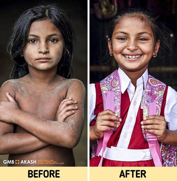 Chùm ảnh trẻ em nghèo trước và sau khi được giúp đỡ để có cơ hội đến trường đi học như bạn bè đồng trang lứa gây xúc động mạnh - Ảnh 3.