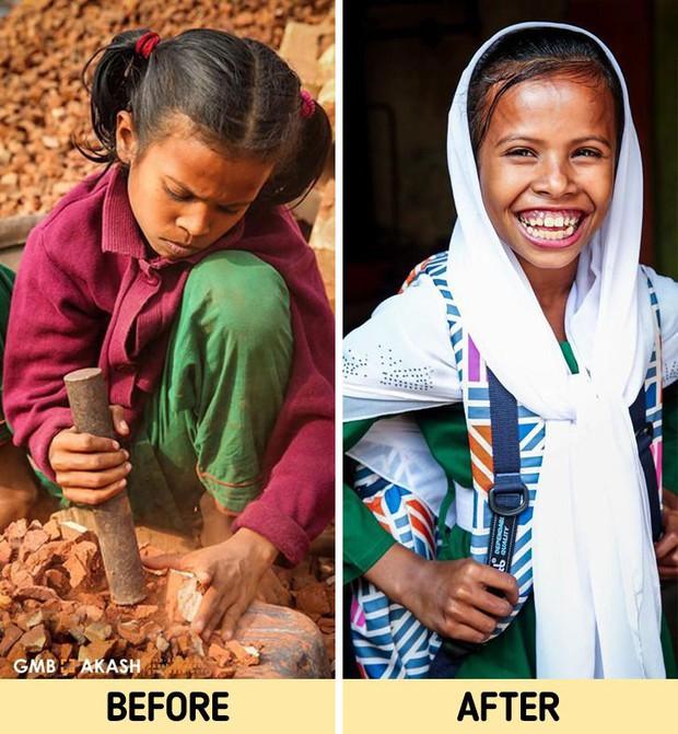Chùm ảnh trẻ em nghèo trước và sau khi được giúp đỡ để có cơ hội đến trường đi học như bạn bè đồng trang lứa gây xúc động mạnh - Ảnh 4.
