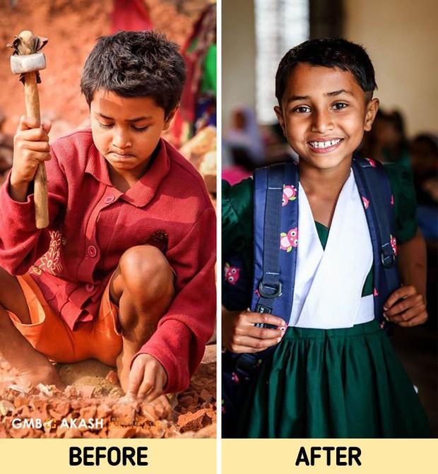 Chùm ảnh trẻ em nghèo trước và sau khi được giúp đỡ để có cơ hội đến trường đi học như bạn bè đồng trang lứa gây xúc động mạnh - Ảnh 6.
