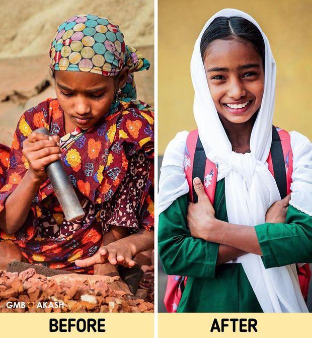 Chùm ảnh trẻ em nghèo trước và sau khi được giúp đỡ để có cơ hội đến trường đi học như bạn bè đồng trang lứa gây xúc động mạnh - Ảnh 9.