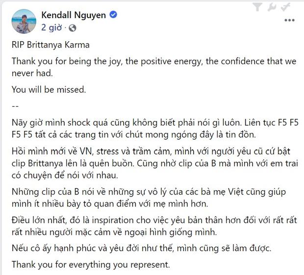 Karik, Lương Thùy Linh và dàn sao Việt tiếc thương trước sự ra đi của vlogger gốc Việt Brittanya Karma sau khi nhiễm Covid-19 - Ảnh 7.