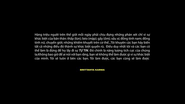 Dân mạng đồng loạt chia sẻ lại thông điệp tích cực trong MV Tự Tin của rapper gốc Việt Brittanya Karma - Ảnh 2.
