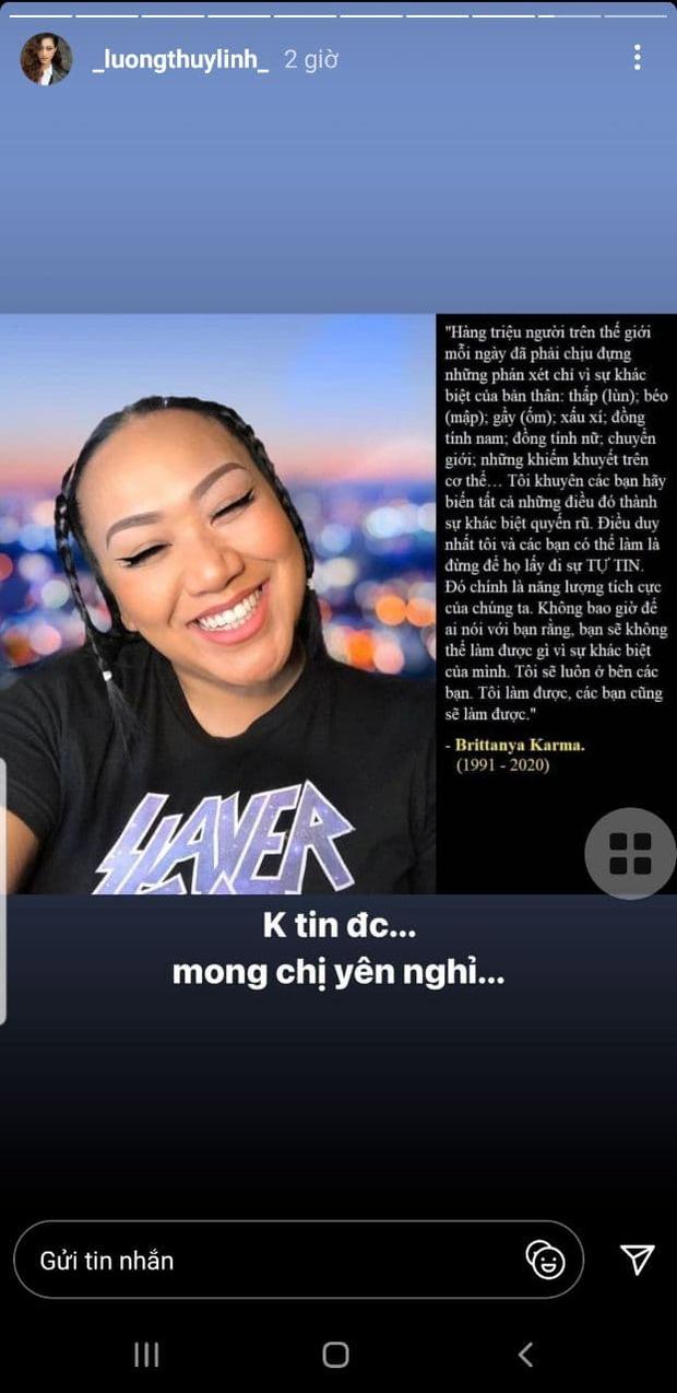 Karik, Lương Thùy Linh và dàn sao Việt tiếc thương trước sự ra đi của vlogger gốc Việt Brittanya Karma sau khi nhiễm Covid-19 - Ảnh 3.
