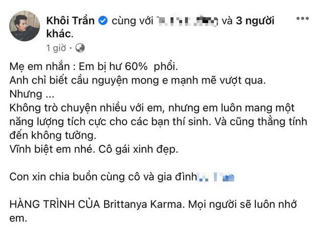 Host Anh Chàng Độc Thân chia sẻ về sự ra đi của Brittanya Karma: Mẹ em nhắn em bị hư 60% phổi - Ảnh 2.