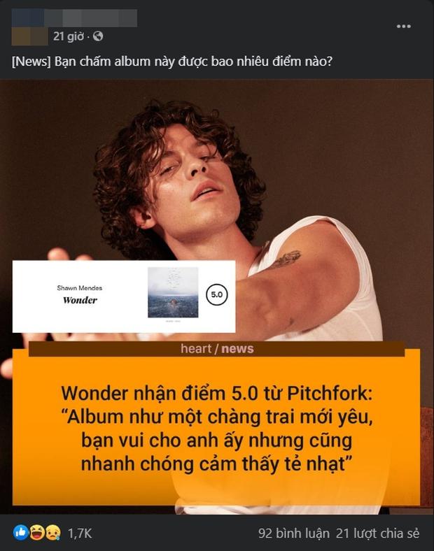 Vnet chấm 2 điểm, Pitchfork chấm hẳn 5 điểm cho album Wonder của Shawn Mendes nhưng nhận xét: Nhạt như trai mới yêu - Ảnh 2.
