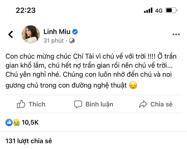 Linh Miu lên tiếng sau status chia buồn NS Chí Tài kiểu khó hiểu: Tâm tôi chính, tôi không sợ - Ảnh 3.