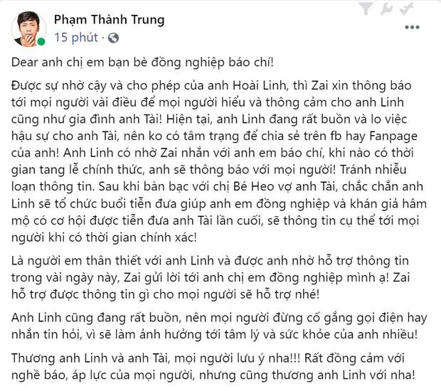 Phía nghệ sĩ Hoài Linh chính thức có chia sẻ đầu tiên về tang lễ của danh hài Chí Tài - Ảnh 2.