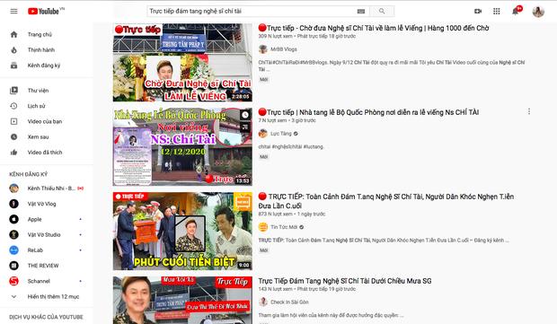 Hàng chục kênh YouTube đăng video giả Trực tiếp đám tang Nghệ sĩ Chí Tài để câu view, cộng đồng phẫn nộ, phản ứng gay gắt - Ảnh 1.