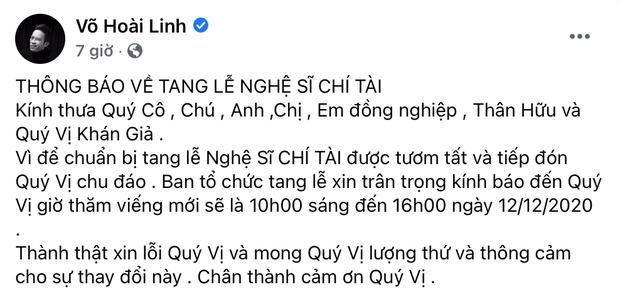 Trước ngày tổ chức tang lễ cố NS Chí Tài, NS Hoài Linh đột ngột thông báo có thay đổi quan trọng - Ảnh 2.