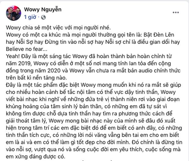 """Wowy tuyên bố sẽ thực hiện MV cho ca khúc """"kén nghe"""" bất chấp sự ngăn cản, khẳng định sẽ đưa vào album năm 2021 - Ảnh 1."""