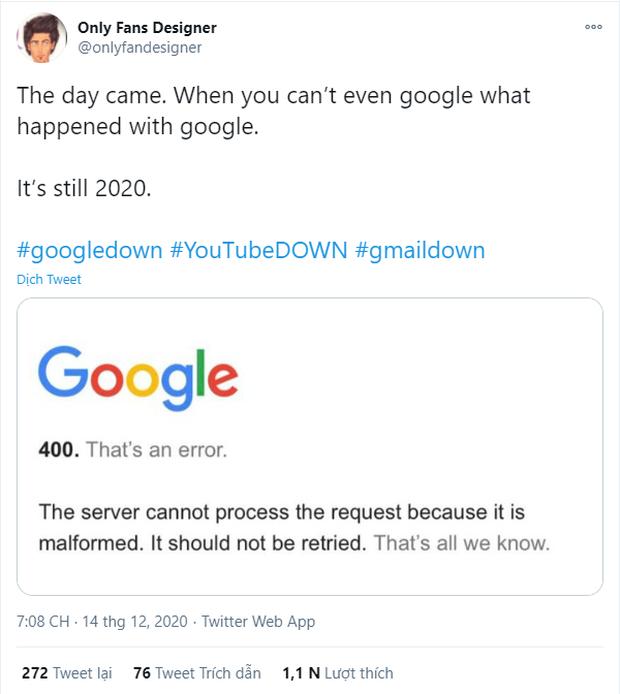 Google sập diện rộng trên toàn cầu khiến cộng đồng điên cuồng báo lỗi, nhưng thật ra trước đây còn nhiều lỗi nghiêm trọng hơn thế nữa! - Ảnh 6.