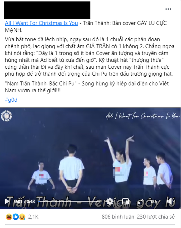 Trấn Thành bị chê hát thảm họa như Chi Pu khi cover siêu hit của Mariah Carey, netizen ngán ngẩm: Hát mà như đi diễn hài - Ảnh 4.