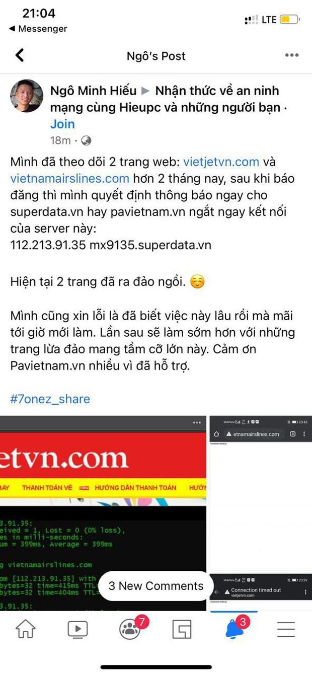 Hieupc ra tay, góp phần xoá sổ 2 trang web giả Vietnam Airlines và Vietjet Air lừa đảo bán vé máy bay! - Ảnh 2.