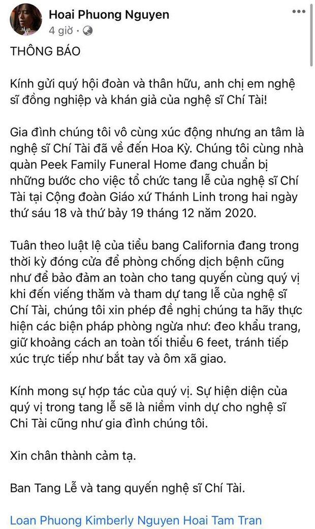 Chồng Việt Hương thay mặt gia đình thông báo những điểm cần lưu ý tại tang lễ NS Chí Tài ở Mỹ - Ảnh 2.