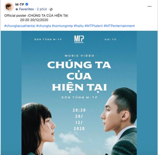 HOT: Sơn Tùng M-TP xác nhận ngày giờ comeback, công bố tên ca khúc và nữ chính Hải Tú, sau 10 phút đạt hơn 100 nghìn like! - Ảnh 1.