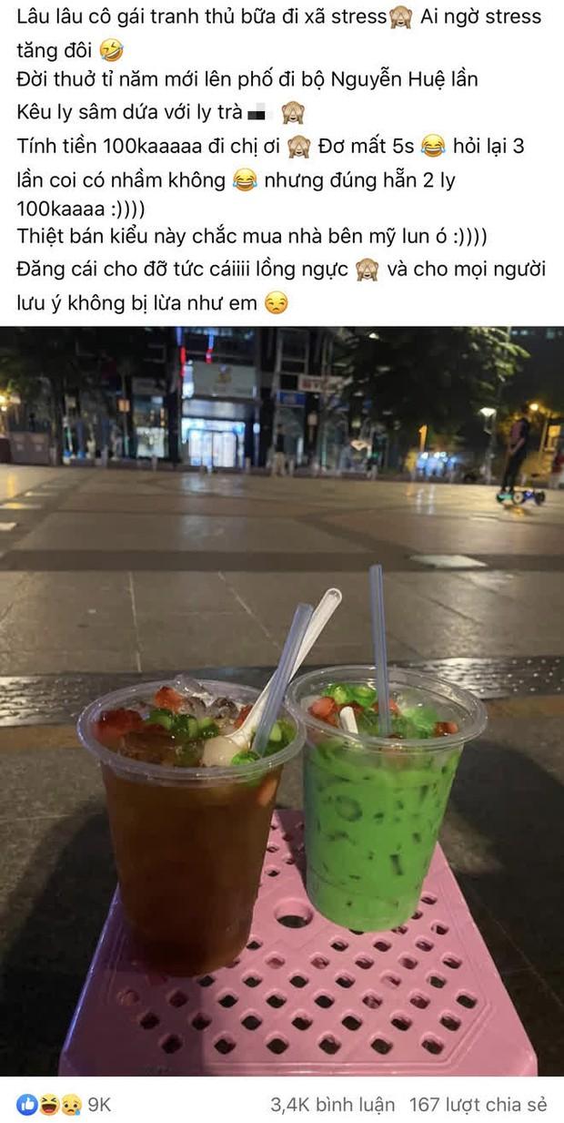 """Ra phố đi bộ Nguyễn Huệ uống 2 ly nước nhưng bị """"chém"""" tới 100k, cô gái tức tối bóc phốt: Bán kiểu này chắc mua nhà bên Mỹ luôn quá? - Ảnh 1."""