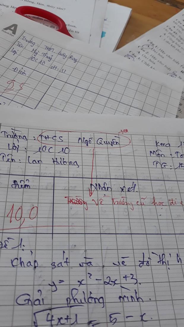Nữ sinh làm bài kiểm tra được 10 điểm tròn nhưng mắc lỗi khiến giáo viên phê 1 câu đắng lòng, dân mạng xem xong đều đồng cảm - Ảnh 1.