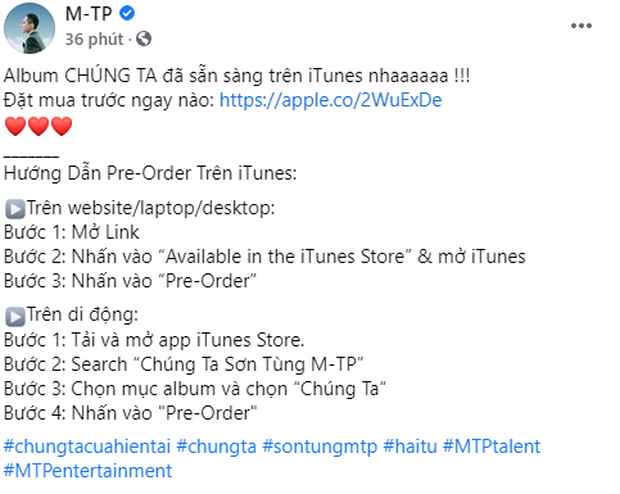 Sơn Tùng M-TP chính thức công bố album Chúng Ta, lộ luôn thời gian phát hành, chỉ có 3 bài mới mà lươn lẹo gọi là album? - Ảnh 1.
