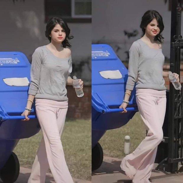 Bức ảnh huyền thoại của Selena Gomez: Đi chân đất, mặc áo ngủ lệch vai, đi đổ rác thôi vẫn xinh ngút ngàn - Ảnh 4.