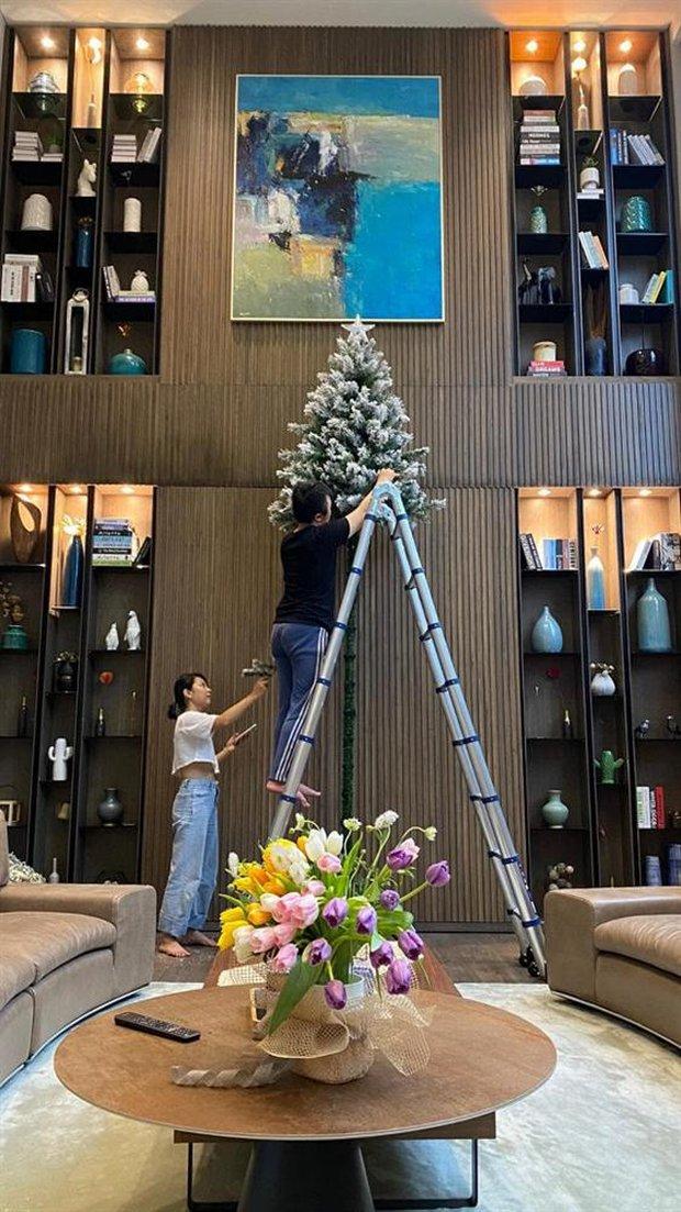 Mùa Giáng sinh của con gái Cường Đô La - Đàm Thu Trang: Chill sương sương dưới cây thông khủng trong biệt thự triệu đô! - Ảnh 3.