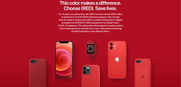 Apple nhuộm đỏ trang chủ, tuyên bố toàn bộ doanh thu từ dòng sản phẩm Product (RED) sẽ được làm từ thiện - Ảnh 2.