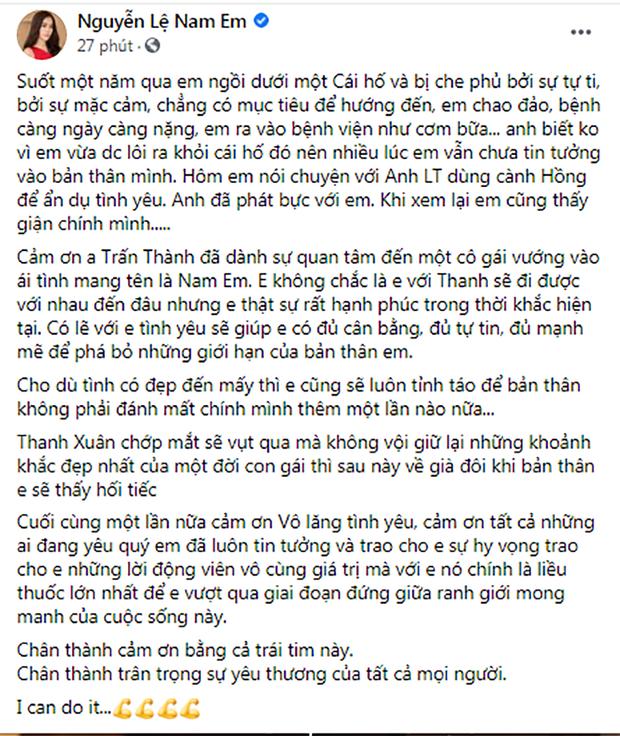Nam Em đăng status nói rõ lùm xùm với Lãnh Thanh, bất ngờ gửi lời tới Trấn Thành sau khi bị gọi là drama queen - Ảnh 2.