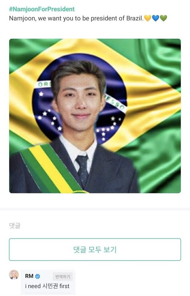 Bỗng được bầu làm Tổng thống Brazil, thủ lĩnh RM (BTS) có động thái bất ngờ trên mạng xã hội - Ảnh 3.