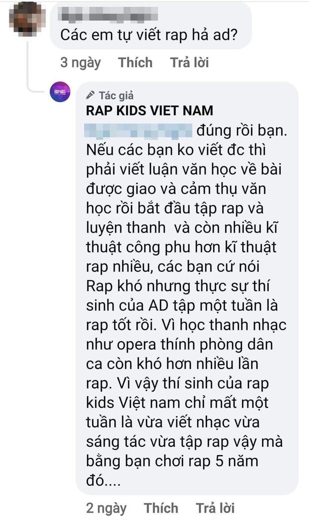 Admin trang Rap Kids tuyên bố thí sinh nhí chỉ mất 1 tuần sáng tác, vừa tập rap đã bằng rapper luyện 5 năm? - Ảnh 2.