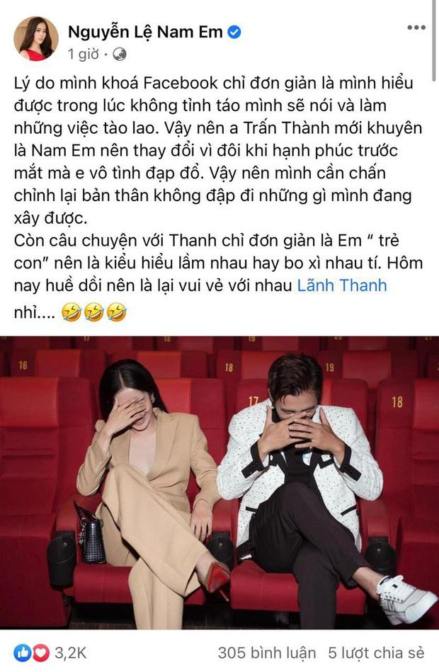 Nam Em đăng status nói rõ lùm xùm với Lãnh Thanh, bất ngờ gửi lời tới Trấn Thành sau khi bị gọi là drama queen - Ảnh 3.