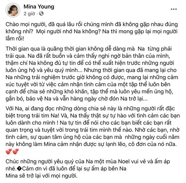 Mina Young bất ngờ viết tâm thư về quãng thời gian dính lùm xùm phải nghỉ livestream, úp mở chuyện tương lai? - Ảnh 1.