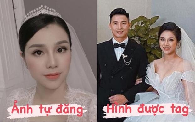 So ảnh cưới của bà xã Tư Dũng khi tự đăng và được tag, liệu có khác nhau không nhỉ? - Ảnh 1.