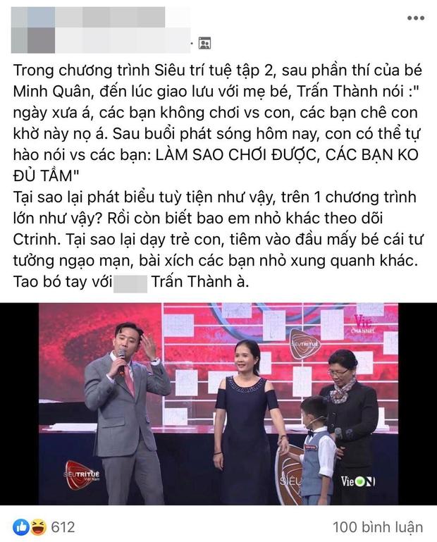 Trấn Thành vấp tranh cãi vì phát ngôn dạy hư trẻ trên Siêu Trí Tuệ Việt Nam - Ảnh 2.