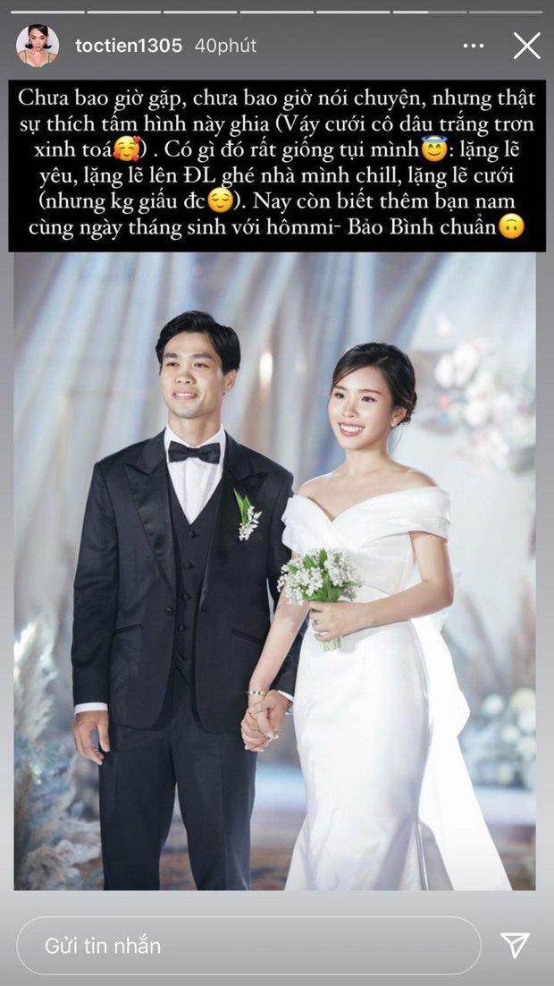 Tóc Tiên bất ngờ có chia sẻ gây chú ý về đám cưới Công Phượng, tiết lộ loạt điểm trùng khớp của 2 cặp vợ chồng son - Ảnh 2.