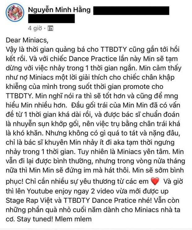 Min bất ngờ chia sẻ với fan sẽ tạm ngừng nhảy vì chấn thương chân, xem lại hậu trường MV càng thêm xót xa - Ảnh 3.