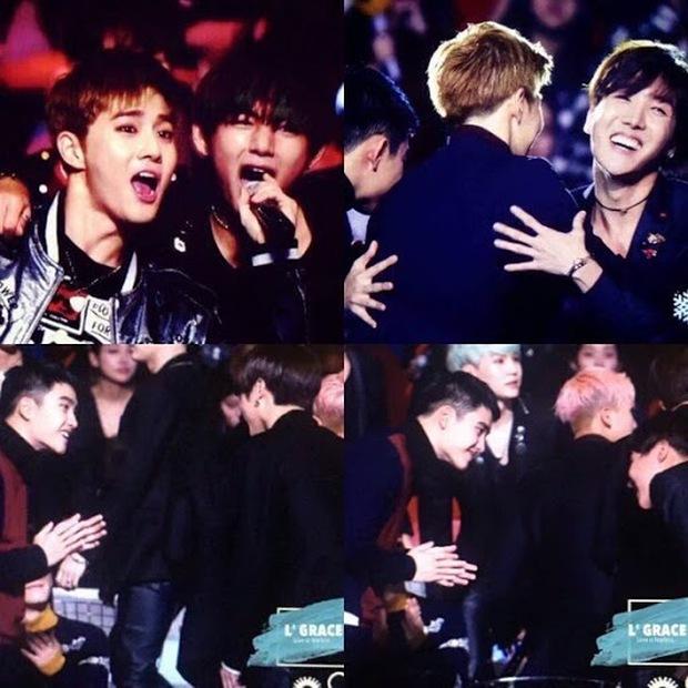 Khoảnh khắc V (BTS) và Baekhyun (EXO) tại MAMA 2014 hot trở lại: Idol 2 tiếng anh em, fan thì 4 tiếng suốt ngày war nhau - Ảnh 4.