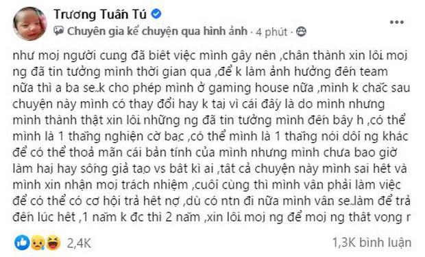 Streamer Tú Sena chính thức lên tiếng xác nhận việc nợ nần vì cờ bạc và bị Thầy giáo Ba đuổi khỏi gaming house SBTC - Ảnh 2.
